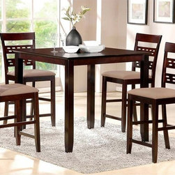 Baxton Studio - Baxton Studio Seville Brown Modern 5-piece Counter Set - Slatted chair backs and micro suede upholstery unite to create style and substance. The five piece Seville counter set features bold looks,sturdy construction and complete comfort.