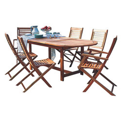 International Home Miami - Amazonia BT Milano Extendable 7-Piece Patio Dining Set - Great Quality, elegant design patio set, made of solid eucalyptus wood. FSC (Forest Stewardship Council) certified. Enjoy your patio with style with these great sets from our Amazonia outdoor collection, an outdoor-Piece suited for a plethora of uses, whether it be a casual family dinner or upscale event.