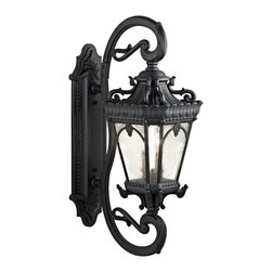 Kichler Lighting - Kichler Lighting Tournai Traditional Outdoor Wall Sconce X-TKB9539 - With its heavy textures, dark tones, and fine attention to detail, this 4 light outdoor wall fixture from the Tournai collection stands out from other outdoor fixtures. Handmade from cast aluminum, its distinctive Textured Black finish and Clear Seedy Glass panels give this piece a unique aged look.