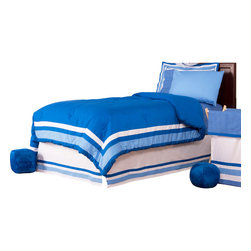 """Simplicity Blue - Full Set (8pc) - Let your personality come to life in a room filled with sophistication and style.  Simplicity Blue is nothing too simple for you!  Beautiful hues of blue with white throughout make the most of this set.  This 8pc set includes full comforter, full bed skirt, full flat sheet, full fitted sheet, 2 standard pillowcases, 2 standard flanged pillow shams. Comforter comes a beautifully framed design in shades of dark blue, light blue and white.  Opposite side is in solid darker blue.  All in cotton print fabric. Flat and fitted sheets come with our signature """"Blue Dots"""" cotton print fabric.  Standard pillowcase comes in solid blue and trim in """"Blue Dots"""" cotton print fabrics.    Bed skirt designed with lines of white and both color blues in cotton print fabric. Standard flanged sham designed to replicate comforter in design.  All in cotton print fabric.  SAVE WHEN YOU BUY AS A SET!"""
