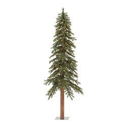 """Vickerman - Natural Alpine Tree 1221T 400MU (8' x 50"""") - 8' Tree W/ 1221 Tips, 100%Pvc, 0.07+0.11+0.11Mm Thickness, Ul 400 Dura-Lit Multi Lt, In Bmd Base, 50"""" Girth"""