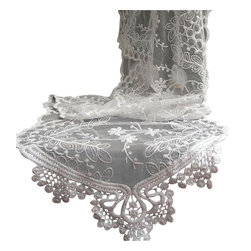 White Lace Table Runner - This beautiful and detailed lace table runner for home decor as well as special events and weddings.