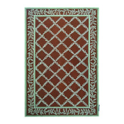"""Safavieh - Chelsea Brown/Blue Area Rug HK230G - 2'6"""" x 10' - 100% pure virgin wool pile, hand-hooked to a durable cotton backing. American Country and turn-of-the-century European designs. This collection is handmade in China exclusively for Safavieh."""