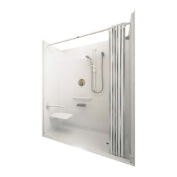 "Ella's Bubbles - Ella Elite White Barrier Free, Roll In Shower 60""W x 33""D x 78""H, Center Drain - The Ella Elite White, (5-Piece) 60 in. x 33 in. Roll in Shower is manufactured using premium marine grade gel coat fiberglass which creates a smooth, beautiful, long lasting surface with anti-slip textured shower base floor. Ella Elite White Barrier Free Shower walls are reinforced with wood and steel providing flexibility for seat and grab bar installation at needed height for any size bather. The integral self-locking aluminum Pin and Slot System allows the shower walls and the pre-leveled shower base to be conveniently installed from the front. Premium quality material, no need for drywall or extra studs for fixture support, 30 Year Limited Lifetime Warranty (on shower panels) and ease of installation make Ella Barrier Free Showers the best option in the industry for your bathtub replacement or modification needs."