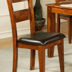 Steve Silver Co. - Mango Side Chair in Light Oak Finish - Set of - Durable chocolate vinyl seat. Multi-step Light Oak finish. Transitional style. Corner block construction. Tongue and groove joints. Select hardwood solids material. Some assembly required. Solid wood construction. 18 in. seat height. 19 in. L x 22 in. W x 40 in. H
