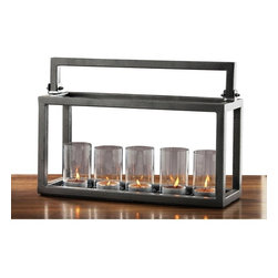 Alliyah Rugs - Hampton 5 Lite Candelabra - This centerpiece candle holder has five glass candle holders with handle and unique grey finish. The long candle holder, making a table centerpiece that adds a romantic glow to candlelight. They can be used for tea lights or candles to add a warm glow to evenings outdoors or indoors.