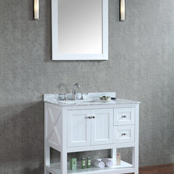 "New 36"" Emily Bathroom Vanity Light Grey or White - New Emily 36"" Bathroom Vanity - White or Light Grey -Solid Wood Construction - No Particle Board or MDF like many leading brands -Available in White or light Grey -Chrome Hardware -CUPC rectangle basin - Solid Wood soft closing drawers with concealed hinges - Carrara marble top -Mirror Included"