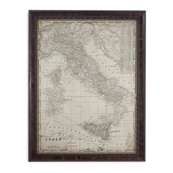 Bassett Mirror - Bassett Mirror Framed Under Glass Art, Antique Map of Italy - Bring an element of Europe to your home with this framed print featuring an antique map of Italy. Set beneath glass in a dark brown frame with detailed edging, this piece makes for an interesting addition to any traditional decor.