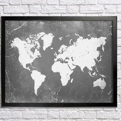 World Map - 18x24in print. Frame (not) included.