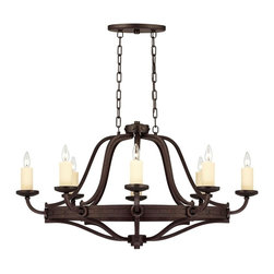 Savoy House Lighting - Savoy House 1-2011-8-05 Elba 8 Light Island Light, Oiled Copper - Oversized candle sleeves and long, clean lines, and a chunky riveted detail all finished in Oiled Copper add to the authenticity of this forged iron piece.