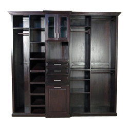 Dark Cherry Walk In Closet Unit - This product is finely constructed from top grade kiln-dried Solid Mahogany. Artisans use the old world method of tongue and groove and mortise and tenon joinery to create this beautiful and durable piece of furniture. Its superb hand-crafted quality will add a touch of elegance to your home.