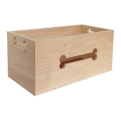 Maple Wood Dog Toy Box - The original wooden bone-cut toy box is beautifully crafted in the USA from genuine maple wood.  Clean, simple lines give this wooden toy box universal appeal. The 2 bone shaped cut-outs on the side panels serve as handles.  This toy box could easily be used in a child's room for storage.