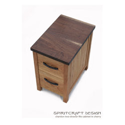 Chardon Cherry and Walnut Two Drawer File Cabinet - From the new Chardon office series... The Chardon file cabinet in solid Cherry and Walnut hardwoods. Traditional mortise and tenon and dovetail joinery with Jeffrey Alexander hardware and Sycamore drawer boxes on hickory runners.