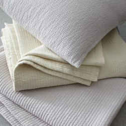 Eileen Fisher - Eileen Fisher Woven-Stitch Organic Cotton Coverlet - Double - Pale Gray - Quiet neutrals are enhanced by the texture of vertically woven rows on this Eileen Fisher coverlet and sham. Coverlet has mitered corners. Lightweight. Stonewashed for softness; due to stonewashing, sham color may vary slightly from coverlet. Organic cotton. By Eileen Fisher Home exclusively by Garnet Hill.
