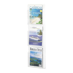 Safco - Reveal 3 Magazine Display Rack in Clear Finish - Keep your reading materials easily accessible and within sight with this easy to install rack. Features three magazine compartments, each with a transparent design, so you can always find what you're looking for quickly and easily. Provides storage without taking up floor space. Includes mounting hardware. Displays literature clearly. Each pocket holds 1.75 in. of printed material. Thermoformed one-piece units have no sharp edges or corners. The displays are wall mountable. Wire partition hangers fit all Reveal Displays. GREENGUARD Certified. Made from PETG plastic. Material Thickness: 2.25mm (PETG). Magazine Compartment Size: 9.25 in. W x 1.75 in. D x 11.25 in. H. Overall: 11 in. W x 2 in. D x 36.75 in. H  (4 lbs.). Assembly InstructionDisplay your literature and magazines in an organized way. Whether it's for your guests in the reception area, waiting room, conference room, meeting areas, the lobby, foyer or entrance way or for your internal employees at a print station, lounge area, lunch or break room, mail room, supply room, classroom, media center, library or even your office, every piece of literature and magazine will have a perfect place to be displayed.