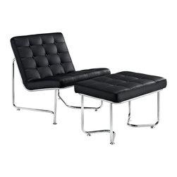 Modway Furniture - Modway Gibraltar Lounge Chair in Black - Lounge Chair in Black belongs to Gibraltar Collection by Modway Some passageways last miles, and others only as long as your cup of coffee. While the geographical symbolism behind the name is something profound unto itself, this modern lounge piece is no less impressive. Fashionably upright, with a perfect tilt backwards, Gibraltar connotes relaxation with a purpose. While some lounge chairs may lull you to sleep, the modernism latent in Gibraltar encourages the active pursuit of ideals. With its fashionably buttoned padded vinyl cushions, and polished stainless steel base, this set reminds us that all narrow pathways are met with a bountiful opening at the end. Set Includes: One - Gibraltar Vinyl Lounge Chair One - Gibraltar Vinyl Ottoman Lounge (1), Ottoman (1)