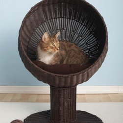 """The Refined Feline - Kitty Ball Rattan Cat Bed in Espresso - Let your cat lounge in style. The Kitty Ball Bed gives your cat a large comfortable bed that's off the ground but easy to get into. Features: -Cat bed. -Made of durable non toxic poly rattan. -Includes soft pillow inside 17"""" dome. -Will not break if clawed. -Machine washable. -6 month warranty. -Assembly required. -Dimensions: 28"""" H x 17"""" W x 17"""" D."""