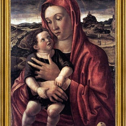 """Giovanni Bellini-18""""x24"""" Framed Canvas - 18"""" x 24"""" Giovanni Bellini Madonna, with Child Standing on a Parapet framed premium canvas print reproduced to meet museum quality standards. Our museum quality canvas prints are produced using high-precision print technology for a more accurate reproduction printed on high quality canvas with fade-resistant, archival inks. Our progressive business model allows us to offer works of art to you at the best wholesale pricing, significantly less than art gallery prices, affordable to all. This artwork is hand stretched onto wooden stretcher bars, then mounted into our 3"""" wide gold finish frame with black panel by one of our expert framers. Our framed canvas print comes with hardware, ready to hang on your wall.  We present a comprehensive collection of exceptional canvas art reproductions by Giovanni Bellini."""