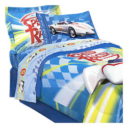 Jay Franco and Sons - Speed Racer Mach 5 3 Pieces Twin-Single Bedding Sheets Set - Features: