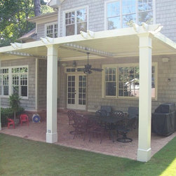 Arcadia Louvered Roof - Installed Units - The homeowner wanted a traditional look that matched the architecture of their house and provided shade, protection from the rain and a place they could enjoy more days of the year.  The perfect solution - an Arcadia Louvered Roof.