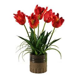 D&W Silks - D&W Silks Large Red Parrot Tulips In Ceramic Planter - Large red parrot tulips in ceramic planter