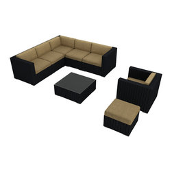 """8 Piece + Luxe Urbana Outdoor Sectional Set by Forever Patio - Due to an overwhelming demand for a set which boasts ample seating, modern design, and extreme functionality, we have introduced our newest collection, the 8 Piece+ Luxe Urbana Sectional Set by Harmonia Living (HL-URBN-8SECT). Designed to be arranged/rearranged in dozens of configurations, the Urbana sectional is a practical choice for those who love to entertain outdoors. The brushed aluminum feet and bold clean lines give this set a modern look. What does the """"+"""" stand for? Here at Patio Productions we understand that every outdoor space is different so the """"+"""" means that you can add additional pieces to create the set that is right for you!"""