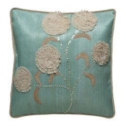 Kouboo - Decorated Pillow Cover with Hammer Seashell, Turquoise - This unique, hand woven throw pillow is decorated with attractive Hammer seashell. Additionally adorned with raffia and cord, this decorative accent is perfect for embellishing sofas or chairs, or incorporated into any bedroom decor. Woven of Abaca fabric derived from the leaves of the tree-like Abaca herb, this beautiful throw pillow adds a tropical ambiance to any room of the home.