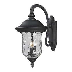 Three Light Black Clear Waterglass Glass Wall Lantern - Traditional charm emanates from this large outdoor wall mount fixture, which pairs clear water glass with black hardware for a timeless look.