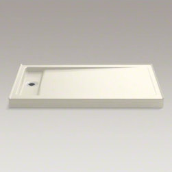 """KOHLER - KOHLER Bellwether(R) 60"""" x 34"""" single-threshold shower base with left offset dra - The Bellwether 60"""" x 34"""" shower base features KOHLER enameled cast iron construction for unmatched durability and ease of maintenance. The left offset drain is designed for easy 60"""" x 30"""" bath replacement. Add a removable cover over the recessed drain for a finished look."""