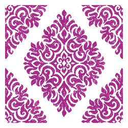 Design Your Wall - French Garden Damask, Plum - Wallpaper Tiles - Featured Designs by Astek Inc