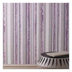 Graham & Brown - Romany Stripe Purple Wallpaper - A beautifully deconstructed stripe with a hint of mica. Designed to sit with Radiance and Romany designs.