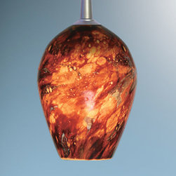 Bruck Lighting Systems - Bolero Matte Chrome Mini Pendant with Autumn Leaf Glass - -Free-blown glass that receives its shape directly out of the furnace. This Artisan process, executed by only Master Glass Blowers, guarantees each piece is one of a kind.  -Standard cable length of 59 inches can be field-cut.  -Includes 4 inch kiss canopy. 2 inch canopy is also available. Please call Customer Service 877-723-5522 to order. -The Modular Pendant System comes standard with 59 of coated cable and the Kiss Canopy allows for simple length adjustments with a screwdriver, no cutting is necessary. Extra cable is coiled inside the Kiss Canopy so length can be adjusted in the future if necessary. -The stunning glass from Bruck Lighting is hand blown in various locations across the globe, including Italy, Austria, Germany and the United States. �The pattern and color variations make each piece unique.  Bruck Lighting Systems - 220337MC/MP