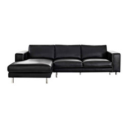 Creative Furniture - Anika Sectional Sofa, Black Full Top-Grain Leather, Left-Facing Chaise - Upholstered in full top grain leather, the Anika sectional gives a luxurious modern appeal to your living room. The sofa has solid wood frame, high density foam, and chromed stainless steel legs.