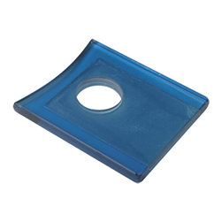 Renovators Supply - Faucet Parts Blue Glass Square Faucet Plate - Replacement Tempered Glass Waterfall Faucet Plate that fits our SQUARE BASE waterfall faucet only #16485. Mix & Match your faucet with our selection of tempered  Glass Vessel Sinks!!