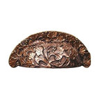 """Notting Hill - Notting Hill Florid Leaves Bin Pull - Antique Copper - Notting Hill Decorative Hardware creates distinctive, high-end decorative cabinet hardware. Our cabinet knobs and handles are hand-cast of solid fine pewter and bronze with a variety of finishes. Notting Hill's decorative kitchen hardware features classic designs with exceptional detail and craftsmanship. Our collections offer decorative knobs, pulls, bin pulls, hinge plates, cabinet backplates, and appliance pulls. Dimensions: 4-1/8"""" x 1-3/4"""", Center To Center: 3"""""""