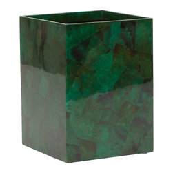 """Pigeon & Poodle - Pigeon & Poodle Palm Beach Jade Square Wastebasket - Pigeon & Poodle's Palm Beach square wastebasket pairs coastal style and Art Deco-inspired flair. Crafted from emerald shell pieces, this accessory dazzles with visual intrigue. 8""""W x 8""""D x 11""""H; Due to handmade quality, natural variations may occur"""