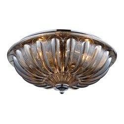Elk Lighting - EL-31252/3 Crystal Flush Mounts 3-Light Flush Mount in Polished Chrome - These attractive designs are made of high quality crystal in a variety of patterns, shapes, and sizes. Finished in polished chrome with clear crystal or plated amber teak crystal.