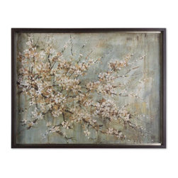 Uttermost - Uttermost Blossom Melody Floral Art - This oil reproduction features a hand applied brushstroke finish. The frame has a medium taupe undertone with heavy dark brown and black glaze. Antique silver leaf inner lip with brown wash.
