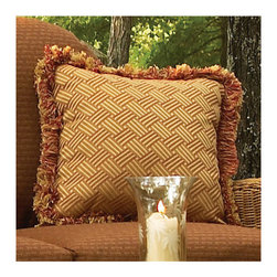 Frontgate - Classic Fringed Outdoor Throw Pillow, Patio Furniture - Seats and backs are hand-woven from N-dura &#153 resin, an exceptionally durable all-weather material that is specially formulated to resist fading. Never-rust, hand-welded aluminum alloy frames are finished with a durable baked-on polyester powdercoating to protect against sunlight and rain. Other details include diamond-back weave design, sturdy braided frames, and ball feet. Fabric is easy to clean. Note: Due to the custom-made nature of the cushions, any fabric changes must be made within 48 hours of ordering. Our Classic Wicker Outdoor Deep-seating Collection by Summer Classics gives you the vintage charm of wicker, updated with the durability of all-weather N-dura resin wicker materials. Pieces are generously proportioned, with high backs and wide arms for hours of comfort. Combine with comfortable, weather-resistant Sunbrella cushions, and you'll have seating areas that will live up to their peak potential. Seats and backs are hand-woven from N-dura resin, an exceptionally durable all-weather material that is specially formulated to resist fading. . . . . Each furniture piece is available in Black Walnut or Raffia finish. . Shop the entire Classic Wicker Collection.