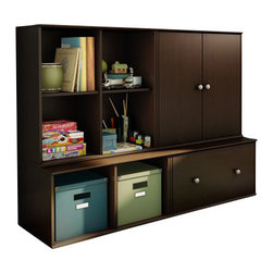 South Shore - South Shore Stor It 4 Piece Storage Unit in Chocolate - South Shore - Storage Cabinets - 505977X4PKG - South Shore Stor It 4 Cubby Storage Unit in Chocolate (included quantity: 1) This shelving unit from the Stor It collection in Chocolate finish has four open cubes designed to maximize storage in all the rooms of your house. Its curved lines and minimalist design are typical of the transitional style that matches any decor. Match it up with other pieces from the Stor It collection to create your own storage solution. Features: