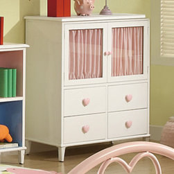Coaster - Juliette 4 Drawer Chest with 2 Doors, Sandy Yellow/Pink - This elegant youth metal bedroom collection will add a touch of sophisticated style and feminine appeal to the youth bedroom in your home. Slick pink metal construction, sinuous shapes, and whimsical heart designs create the ideal look for your child. Other casegood pieces feature a simple, angelic, white finish with clean and crisp box lines. Pink heart shaped knobs add the perfect touch of cuteness ideal for any girl's dream bedroom. Choose from 2 different bedroom styles: an arched metal headboard/footboard that include a lovely pink finish and motifs of hearts or a rectangular headboard/footboard with pink/white ornament detail.