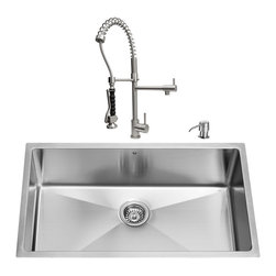 "VIGO Industries - VIGO All in One 32-inch Undermount Stainless Steel Kitchen Sink and Faucet Set - Enhance the look of your kitchen with a VIGO All in One Kitchen Set featuring a 32"" Undermount kitchen sink, faucet, soap dispenser, matching bottom grid and sink strainer."