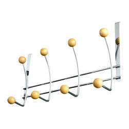 Over The Door 8 Metal Hooks Rack Chrome/Wood - This over the door 8 metal hook rack is metal with wooden hanging balls. Easily add storage to any bathroom, closet or room in your home without the need for tools or hardware. Store your towels, bathrobes, clothes and other accessories by taking advantage of unused space. Color chrome and wood. The sturdy brackets fit over the top of any standard door up to 1-3/8 thick. Wipe clean. Width 14.88-Inch, depth 1.77-Inch and height 7.87-Inch. This over the door 8 metal hook rack will help you to create convenient hanging spaces and will give your bathroom a modern style. Complete your decoration with other products of the same collection. Imported.