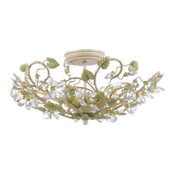 Crystorama - Josie 3 light Flush in Champagne Green Tea - This enchanting light fixture from Crystorama features a hand-painted champagne green tea finish. This light fixture includes wrought iron,crystal and electrical components. It will liven up any room.