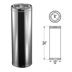 """M & G DURAVENT INC - 9221-8 IN. 24 IN. DURAPLUS PIPE - DURAPLUS ALL-FUEL CHIMNEY PIPE  Triple-wall, all-fuel pipe for use with wood -  stoves, fireplaces, furnaces, boilers & more  .018"""" galvanized steel outer wall, .018"""" -  aluminized steel intermediate liner and .016""""-  430 stainless steel inner liner  Insulated layers of ceramic blanket plus -  ventilated air space - UL Listed- UL 103HT  Locks tightly w/precision twist-lock connection    9221-8 IN. 24 IN. DURAPLUS PIPE  SIZE:8"""" x 24"""""""