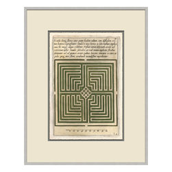 Soicher-Marin - Garden Plan B, Green - Giclee print with a silver  contemporary wood frame with off white mat insert.  Includes glass, eyes and wire.  Made in the USA. Wipe down with damp cloth