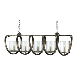 Currey and Company - Maximus Rectangular Chandelier - Give your kitchen or dining room that final twist with this unique chandelier. Designed to intrigue, its wrought iron frame winds around candelabra bulbs encased in glass cups for warm illumination.