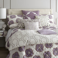"John Robshaw - John Robshaw Queen Medallion Quilt, 92"" x 92"" - Lavender, eggplant, and tangerine medallions float on hand-quilted cotton voile bed linens with striped reverse and cotton batting. Duvet covers and matching European shams of 300-thread-count cotton percale feature a soft khaki-clay block print and h..."