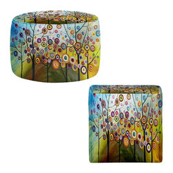 DiaNoche Designs - Ottoman Foot Stool - Abstract Blossom II - Lightweight, artistic, bean bag style Ottomans. You now have a unique place to rest your legs or tush after a long day, on this firm, artistic furtniture!  Artist print on all sides. Dye Sublimation printing adheres the ink to the material for long life and durability.  Machine Washable on cold.  Product may vary slightly from image.