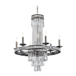 "Crystorama - Crystorama Mercer Collection 27"" Wide Chandelier - This exquisite chandelier casts shimmering light wherever you decide to place it. Detailed banding and delicate hand-cut crystal is suspended from a wrought iron frame. The frame comes in an English bronze finish which enhances the sophisticated look. Six candelabra style lights bring this fixture to life. English bronze finish. Hand-cut crystal. Takes six 60 watt candelabra bulbs (not included). 30"" high. 27"" wide. Canopy is 5"" round. 35 lbs. hanging weight.  English bronze finish.   Hand-cut crystal.   Takes six 60 watt candelabra bulbs (not included).   30"" high.   27"" wide.   Canopy is 5"" round.   35 lbs. hanging weight."